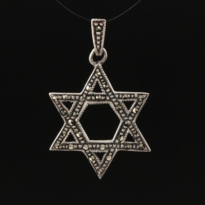 Sterling Marcasite Star of David Pendant