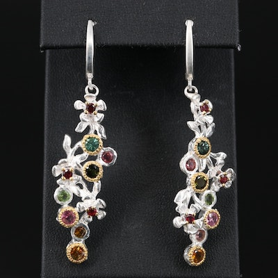 Sterling Silver Tourmaline Foliate Earrings