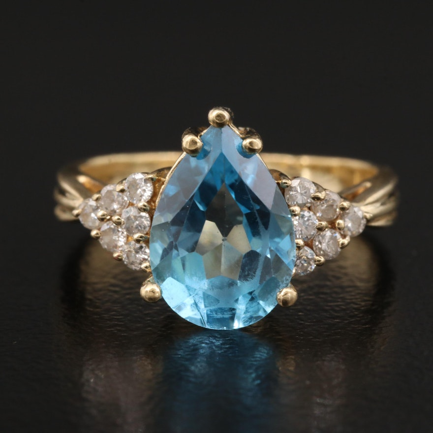14K Topaz is Diamond Ring