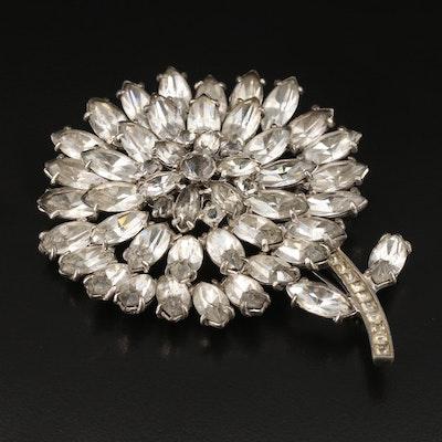 Circa 1940s Rhinestone Flower Brooch