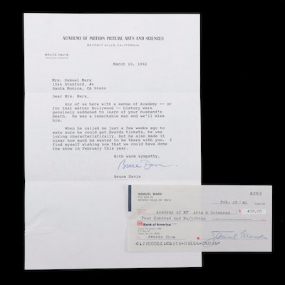 AMPAS Director Bruce Davis Letter and Check to Samuel Marx, 1992