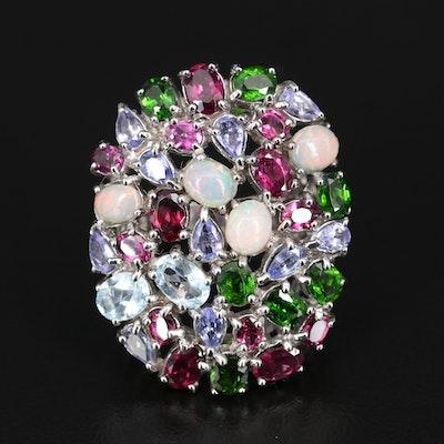 Sterling Silver Opal, Rhodolite Garnet and Diopside Cluster Ring