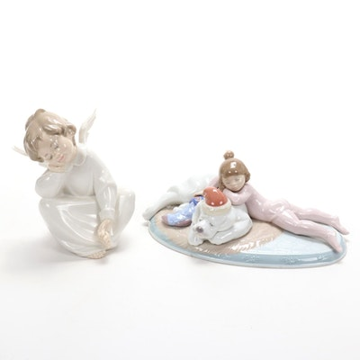 "Lladró ""Christmas Buddies"" and ""Angel Dreaming"" Porcelain Figurines"