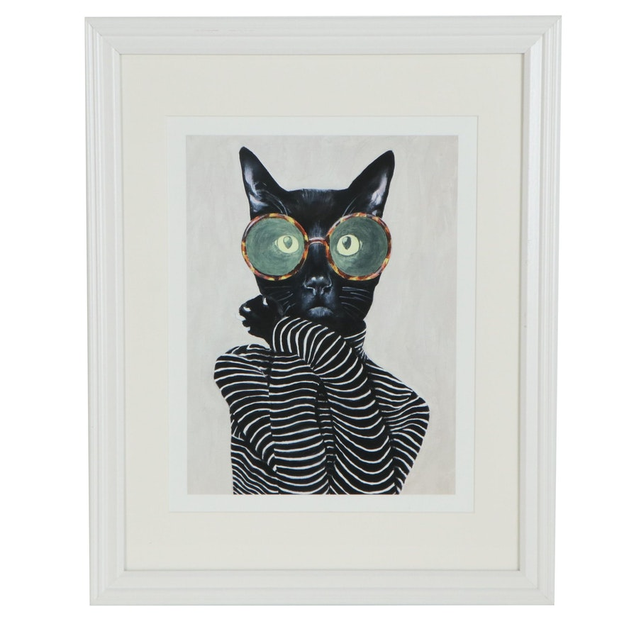 Pop Art Giclée of Anthropomorphic Cat in Glasses and Striped Shirt