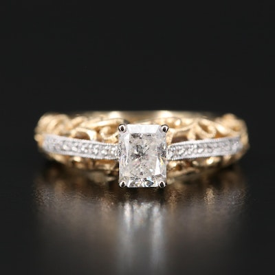 14K 1.17 CTW Diamond Openwork Ring