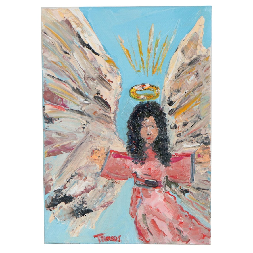 """Patricia Nolan-Brown Oil Painting """"Guardian Angel,"""" 2020"""