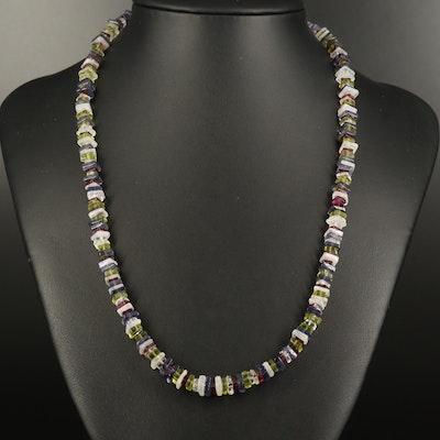 Sterling Rhodolite Garnet, Rainbow Moonstone and Peridot Beaded Necklace