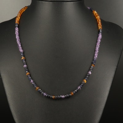Citrine, Amethyst and Iolite Beaded Necklace with Sterling Clasp