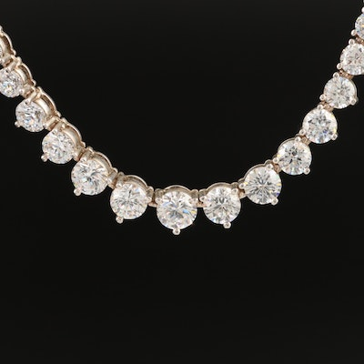 Sterling Graduated Cubic Zirconia Necklace