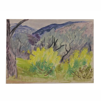Watercolor Landscape Painting of Valley