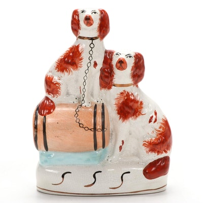 Staffordshire Figurine of Dogs on a Barrel, Mid-20th Century