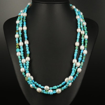 Pearl and Turquoise Triple Strand Necklace with Sterling Clasp
