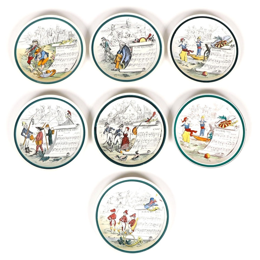 Creil et Montereau and HBCM French Opera Ironstone Plates, Early 20th Century