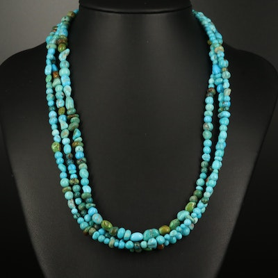 Turquoise Triple Strand Necklace with Sterling Clasp