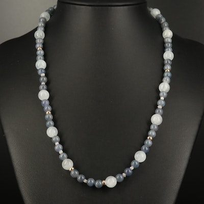 Quartz, Corundum and Diamond Strand Necklace with 14K Findings