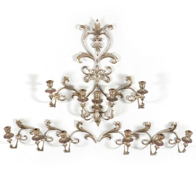 Neoclassical Style Distressed Silver Finish Floral Filigree Wall Candle Sconces