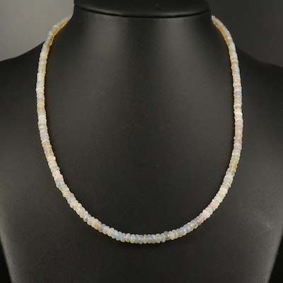 Opal Beaded Necklace with 10K Clasp