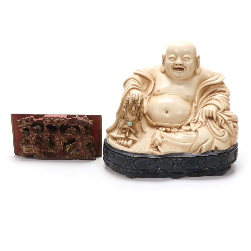 Alexander Backer Co. Chalkware Buddha Figure with Relief Carving