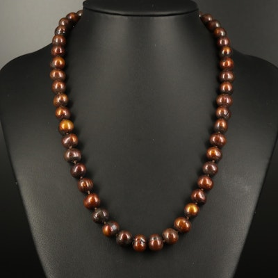 Hand Knotted Pearl Strand Necklace with 18K Clasp