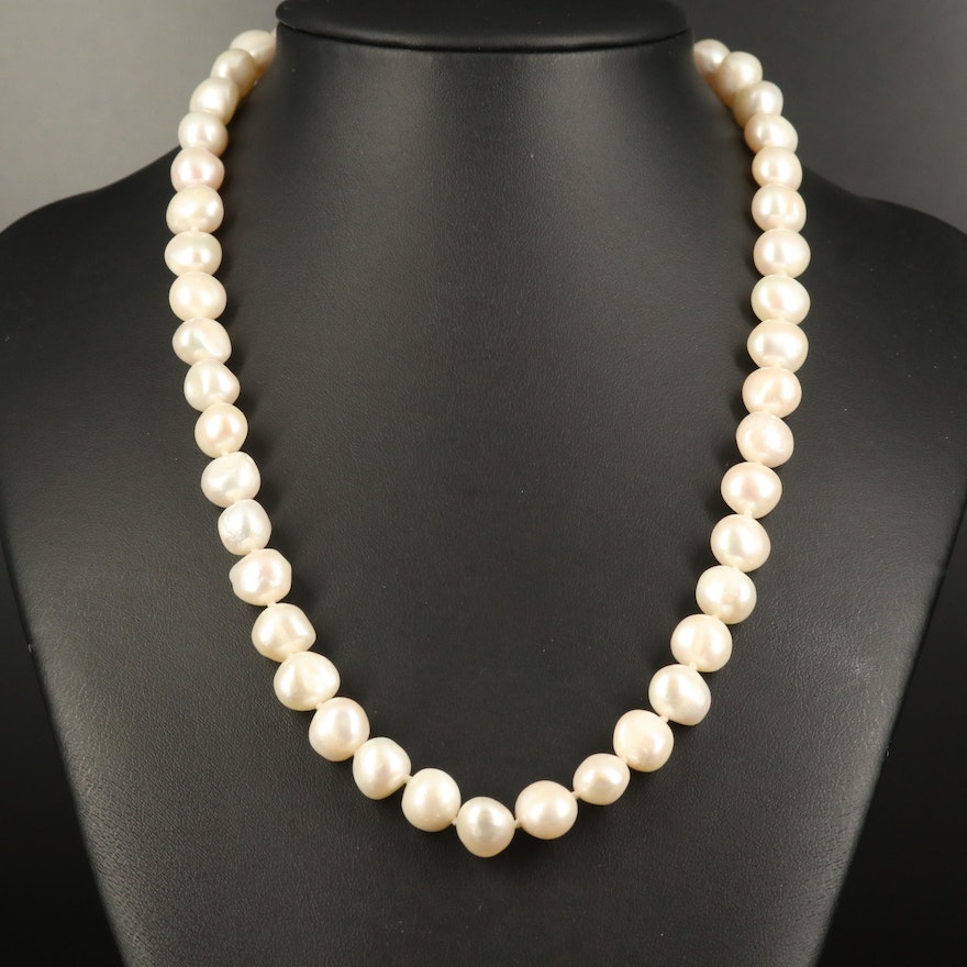 Individually Knotted Pearl Strand Necklace with 14K Clasp