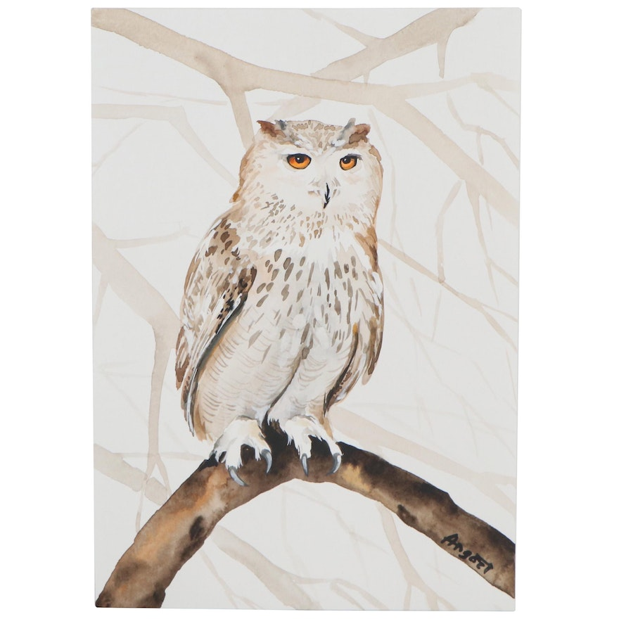 """Anne """"Angor"""" Gorywine Watercolor Painting of Owl, 2020"""