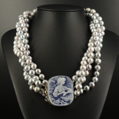 Pearl Torsade with Cameo Pendant in Sterling