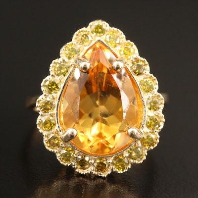 14K Citrine and Yellow Diamond Ring