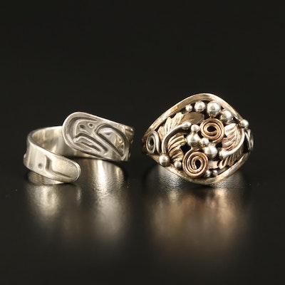 Danny Dennis Sterling Eagle Bypass Ring and Sterling Foliate Ring