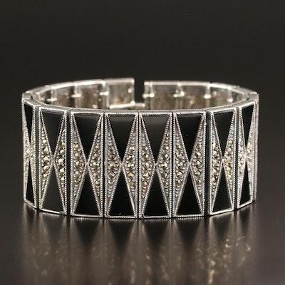 Judith Jack Sterling Black Onyx and Marcasite Geometric Pattern Bracelet