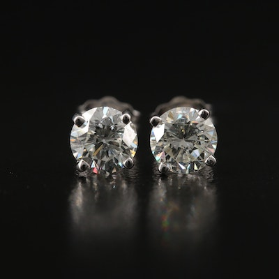 18K 1.30 CTW Diamond Stud Earrings with GIA eReports