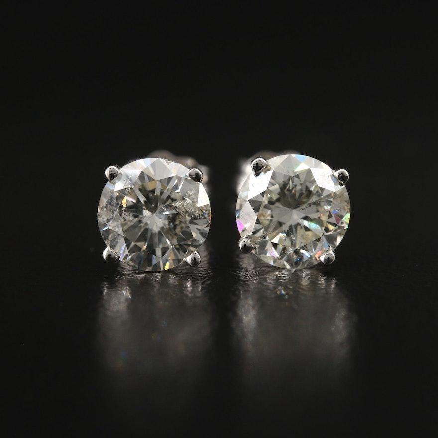 18K 1.86 CTW Diamond Stud Earrings