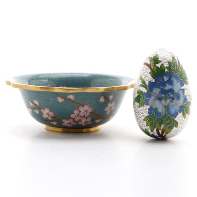 Chinese Cloisonné Cherry Blossom Bowl and Peony Egg Figurine