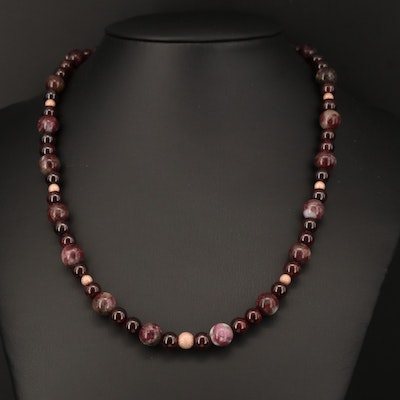 Tourmaline in Matrix and Rhodolite Garnet Beaded Necklace with Gold Filled Clasp
