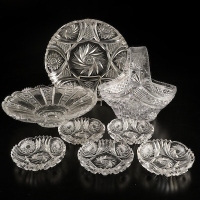 American Brilliant Cut Glass Berry Set and Other Tableware