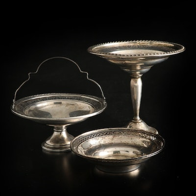 Wallace and Other Pierced Sterling Silver Compote, Bowl and Handled Basket
