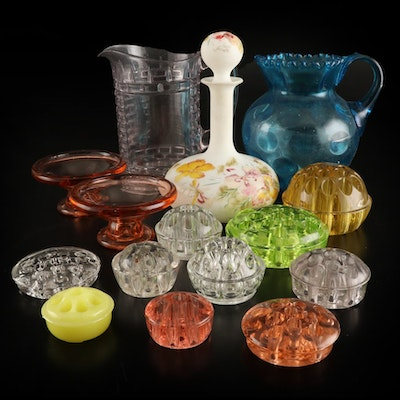 Hand-Painted Decanter, Colored Glass Pitchers and Floral Frogs