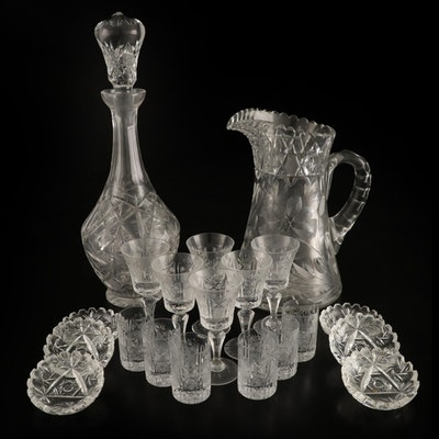 Cut Glass Decanter and Lemonade Set with Other Tableware, Early-Mid 20th Century