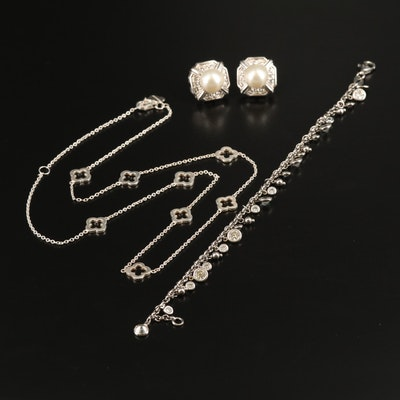 Heidi Klum Sterling Rhinestone Station Necklace with Bracelet and Earrings