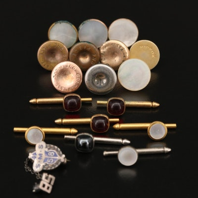 Shirt Studs and Double Pins with Mother of Pearl and Glass