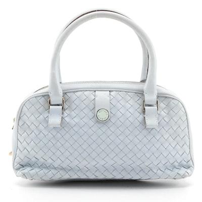 Bottega Veneta Pale Blue Intrecciato Leather Handbag
