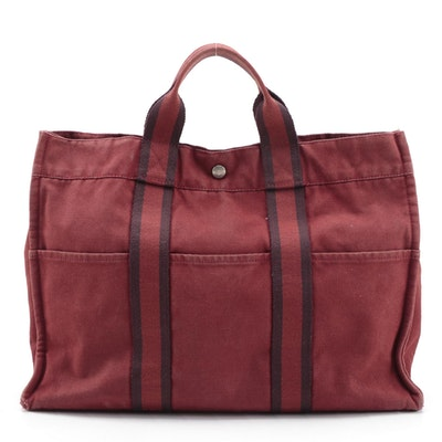 Hermès Fourre Tout MM Tote Bag in Red/Burgundy Cotton Canvas