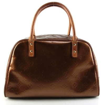 Louis Vuitton Tompkins Square Satchel in Monogram Vernis and Natural Leather