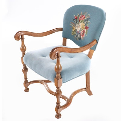 William and Mary Style Walnut Upholstered Armchair with Needlepoint Back