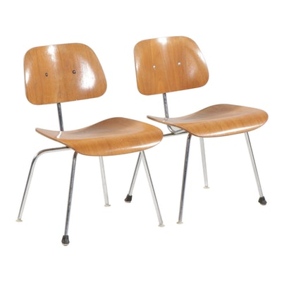 "Eames for Herman Miller Mid Century Modern Plywood ""DCM"" Side Chairs, 1950s"