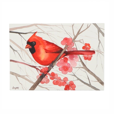 """Anne """"Angor"""" Gorywine Watercolor Painting of Cardinal, 2020"""