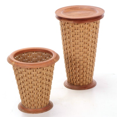 "WoodCraft ""Berea Basket"" Woven Fiber and Cherry Wood Receptacles"