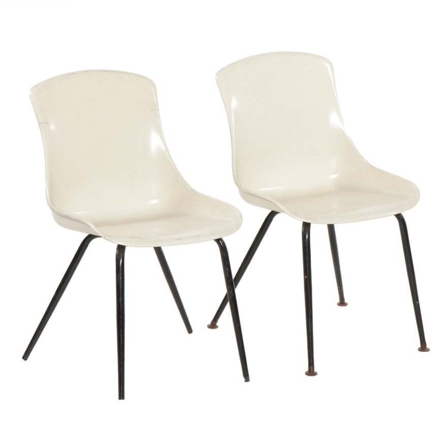 Pair of Mid Century Modern Formed Fiberglass Side Chairs
