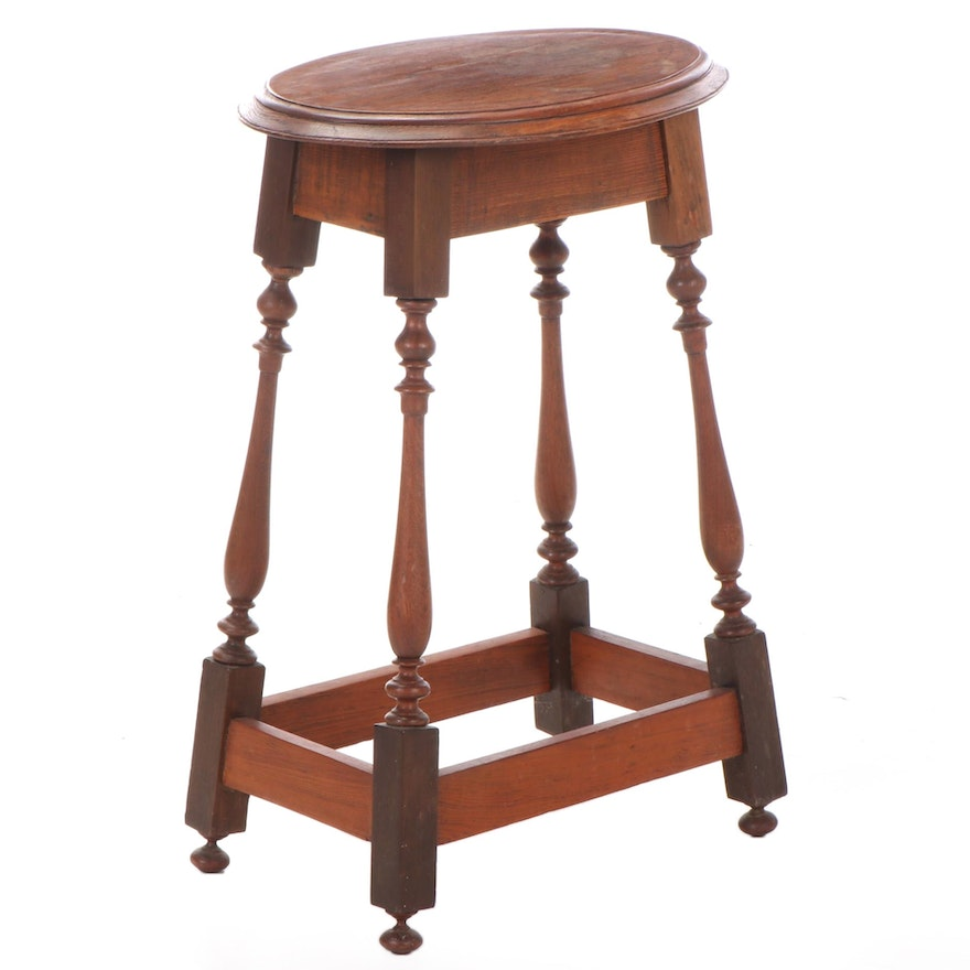American Queen Anne Style Walnut, Pine, and Poplar Side Table