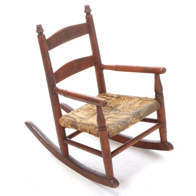 American Primitive Ladderback Child's Rocker, 19th Century