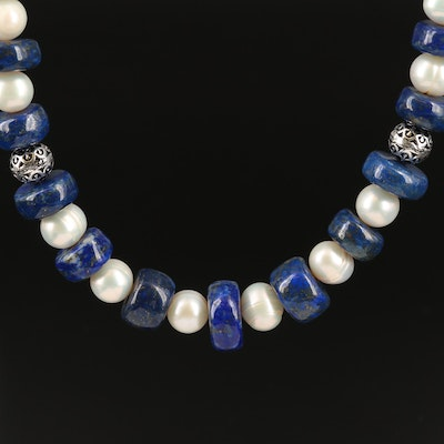 Lapis Lazuli and Pearl Necklace with Sterling Clasp and Spacer Beads